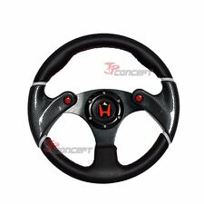 For 96-00 Civic 320mm JDM Racing Sport Steering Wheel PVC Leather Red H + Hub