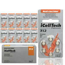 "iCell Tech Size 312 Hearing Aid Batteries (60 Batteries) ""Platinum Package"""