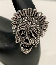 925 Silver Skeleton Skull Head Ring Size 10 Made in Mexico NEW