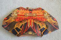 Alexander McQueen MCQ De Manta Silk/Satin Print Double Zip Clutch Magnetic Bag