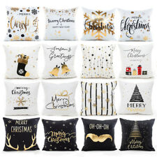 Xmas Pillow Case Cotton Flax Sofa Cushion Cover Linen Merry Christmas Home Decor