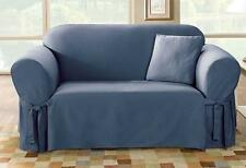 Sofa bluestone blue Cotton Duck Lightweight One Piece Slipcover sure fit