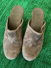 UGGs Women Clog Brown Leather Suede Clogs Shoes Wood Wooden Heel Size 6