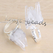 Natural Silver Rock Crystal Quartz Druzy Crystals Adjustable Reiki Finger Ring