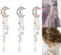 Retro Hair Clip Moon Rhinestone Tassel Beads Hairpin Women Wedding Jewelry Gifts
