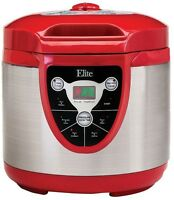 6 qt Pressure Cooker Digital Electric Canner Rice Stew Boil Stainless Steel RED