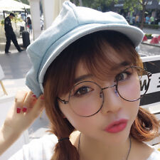 Women Ladies Denim Newsboy Gatsby Cap Octagonal Baker Peaked Beret Driving Hat