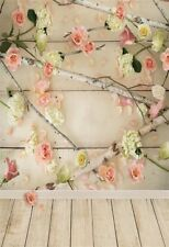 Flower Branch Wood Board Wall 5x7ft Photography Backgrounds Vinyl Photo Backdrop