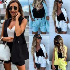 2Pcs Women Suit Short Sleeve Vest Coat+Shorts Set Blazer OL Office Workwear UK