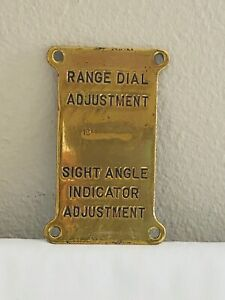 VINTAGE BRASS SHIP PLAQUE NAUTICAL SIGN RANGE DIAL ADJUSTMENT SIGHT ANGLE INDICA