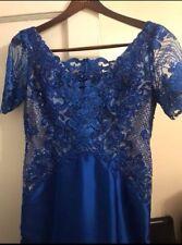Camille La Vie Satin & Lace Royal Blue Evening Gown- Size 12