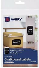 "16 Labels (2 Packs of 8)  Avery 73301 2-1/2"" X 3-3/4"" Black Removable Chalkboard"