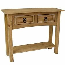 CORONA Console Table 2 Drawer With Shelf Waxed Pine Hallway by Home Discount