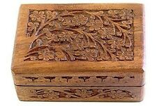 """Wooden Carved Tarot Box Wicca Pagan 4"""" X 6"""" inchs FREE SHIPPING Jewerly box"""