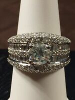 $14,000 3.43CT NATURAL ROUND CUT DIAMOND ENGAGEMENT RING 18K WHITE GOLD