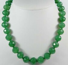 """Stunning!10mm Green Emerald Faceted Round Beads Necklace 18"""" PN294"""