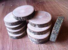 10x árbol de rebanadas de registro Rústico de Madera Real Ceniza Pieza Mesa Redonda Chic 10-12x2Cm