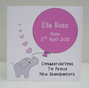 Personalised New Baby Card for a Girl or Boy - Balloon New Parents Grandparents