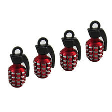 4x Car Red Grenade Metal Bomb Exterior Wheel Tyre Air Valve Stems Dust Cover Cap