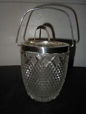 Lead Crystal Ice Bucket with WMF Nickel Plated Brass edging and handle Germany