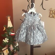 NWT Baby Girls Rare Editions Silver Soutache Dress Special Occasion Sz 3-6 Mons