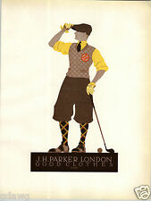1923 Cosl Frey Golf Clothes Golfer Knickers Lithograph Mini Poster Art Parker