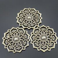 20X Vintage Style Bronze Tone Fasion Round Flower Pendant Connector 30*30mm