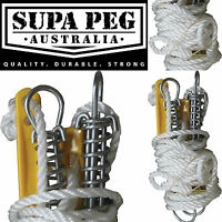 SUPA PEG Tent Pole Silver Guy Ropes STANDARD with Spring Camping Australian Made