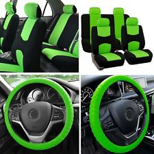 Solid bench Car Seat Covers Green Black Set w/ Silicone Steering Wheel cover