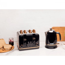 Haden Salcombe Black and Copper Kettle and 4 Slice Toaster Set