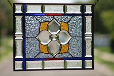 "Beveled Stained Glass Window Panel, Ready to Hang ≈ 20"" X  10"""