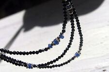 3-reihige schwarze spinell, mit blauensSaphiren kette, 925 silber