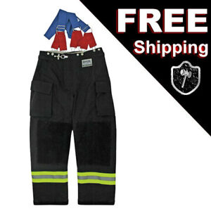 MORNING PRIDE RNG-240D Turnout Fireman Pants, Black L, Large 40 In X 30 in