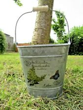 Hand Finished Zinc Metal Lilac Butterfly Plant Flower Pot Herb Bucket Holder