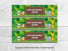 6 Personalised Jungle Safari Fruit Shoot Bottle Wrappers Party Favour