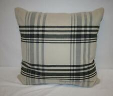 "24x24"" Beige Khaki Tan Black Gray Plaid Decorative Throw Pillow"