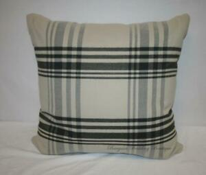 "24x24"" LARGE Beige Khaki Tan Black Gray Plaid Decorative Throw Pillow"