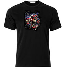 Patriotic Skulls - Graphic Cotton T Shirt Short & Long Sleeve