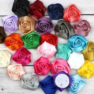 "Mix 50Pcs 1"" Satin Ribbon Flower Mini Rose Appliques Craft Supplies-28 Colors"