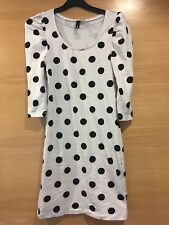 Size 8 H&M White Black Polka dot Spot Fitted Top Dress Bodycon 3/4 Sleeve