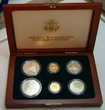 1995 Civil War Battlefield Gold Silver 6 Coin Set Proof & UNC Set w/Box & COA