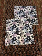 Pair (2) Floral Pottery Barn Teen Pb Teen Nwot Euro Covers Purples Blues Grays