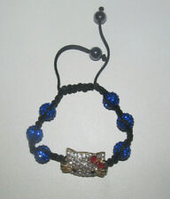 Bracelet Style Shamballa Strass Hello Kitty Bleu & Argent NEUF