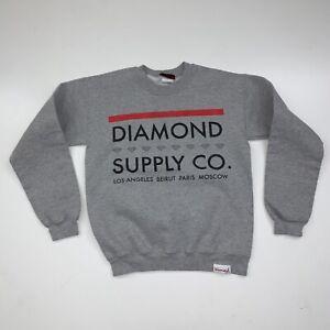 Top Script Gray Mens Sweatshirt Crewneck RMHD-300 New Diamond Supply Co
