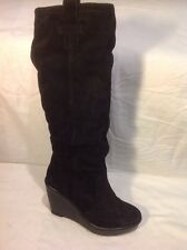Moda In Pelle Black Knee High Suede Boots Size 36