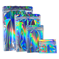 Aluminium Holographic Silver Rainbow Laser Foil Heat Seal Zip Lock Pouch Bags