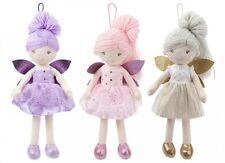More details for plush fairy doll with woollen hair 38cm tall in pink, lilac or gold girls toy