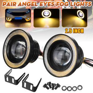 2x 2.5''Car COB LED Fog Driving Light Projector Lens Yellow Angel Eyes Halo Ring