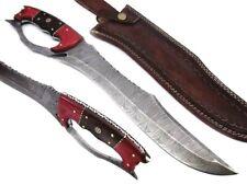 NEW CUSTOM HANDMADE DAMASCUS STEEL BOWIE KNIFE WITH LEATHER SHEATH
