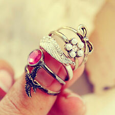 Vintage Retro Style Rhinestone Wings Flower Swallow Bowknot 5pcs Ring Set Rings